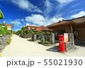 赤瓦の琉球家屋が並ぶ風景 沖縄 竹富郵便局 55021930