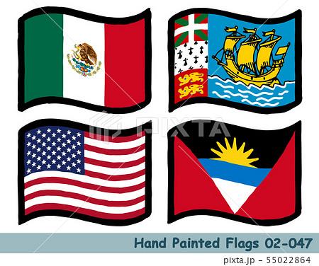 手描きの旗アイコン,メキシコの国旗,サンピエール・ミクロンの旗 ...