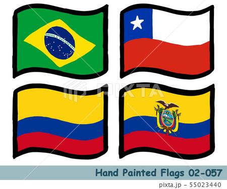 手描きの旗アイコン,ブラジルの国旗,チリの国旗,コロンビアの国旗,エクアドルの国旗 55023440