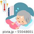 暑くて寝苦しそうなシニア女性 55048601