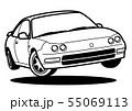 懐かしめ国産クーペ ジャンプ ぬり絵風 自動車イラスト 55069113