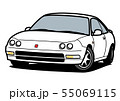 懐かしめ国産クーペ 白色 自動車イラスト 55069115