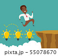 black african american businessman running and jump over cliff gap to success, overcome the 55078670