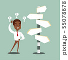 black african american businessman standing at cross road confused by direction signs. Choices and 55078678