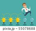Businessman jump on light bulbs, Idea concept 55078688