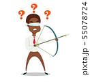 Blindfolded Black african american businessman shooting arrow. 55078724