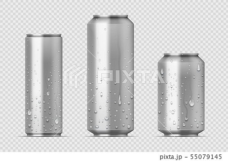 Realistic metal cans. Aluminum bear soda and lemonade cans with water drops, energy drink mockup 55079145