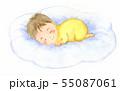 眠っているあかちゃん 雲の上 水彩イラスト 55087061