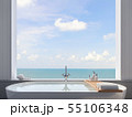 Close up of bathtub with sea view 3d render 55106348
