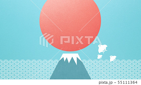 背景-和-和風-和柄-和紙-夏-水色-波-富士山-千鳥-太陽 55111364
