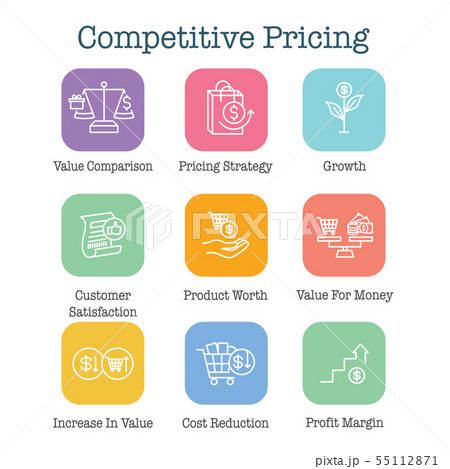 Competitive Pricing Icon Set with Growth, 55112871