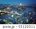 London aerial view with Tower Bridge, UK 55120311