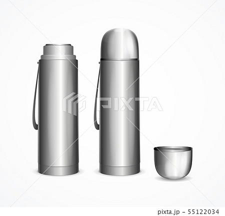 Realistic Detailed 3d Silver Blank Thermos Template Mockup Set. Vector 55122034