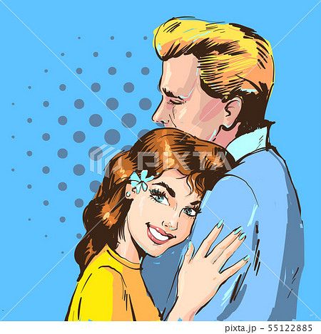 Happy Couple in love hug. Beautiful young woman and handsome man portrait in retro comic pop art 55122885