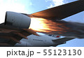 The engine of the aircraft caught fire and burns with the release of black smoke. 3D Rendering 55123130