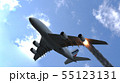 The engine of the aircraft caught fire and burns with the release of black smoke. 3D Rendering 55123131