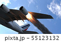 The engine of the aircraft caught fire and burns with the release of black smoke. 3D Rendering 55123132