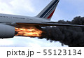 The engine of the aircraft caught fire and burns with the release of black smoke. 3D Rendering 55123134