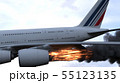 The engine of the aircraft caught fire and burns with the release of black smoke. 3D Rendering 55123135