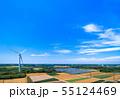 高台に並ぶクリーンエネルギー風力発電 55124469
