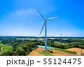 高台に並ぶクリーンエネルギー風力発電 55124475