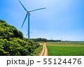 高台に並ぶクリーンエネルギー風力発電 55124476
