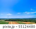 高台に並ぶクリーンエネルギー風力発電 55124480