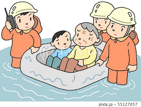 市街地洪水・浸水のイラスト 55127057