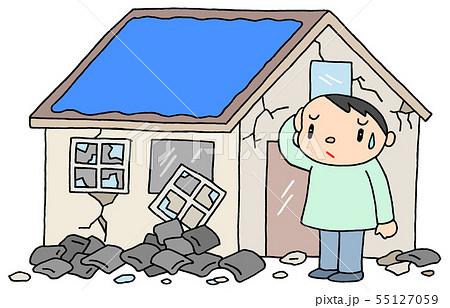 震災による屋根瓦崩落のイラスト 55127059