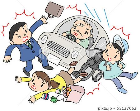 高齢者ドライバーによる交通事故問題のイラスト 55127062