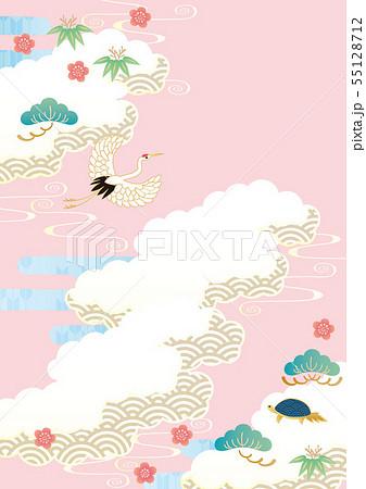 背景素材-和空模様,鶴亀 3 55128712