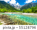《長野県》新緑の上高地・岳沢と梓川 55128796