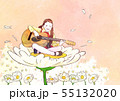 illustration of a little girl who dreams with blossoms background 006 55132020