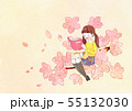 illustration of a little girl who dreams with blossoms background 001 55132030