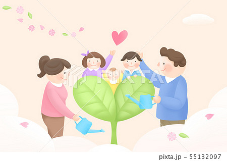 Harmony family, illustration of loving families 004 55132097