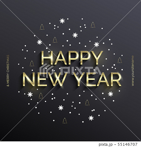 Golden text on gray background. Happy New Year 55146707