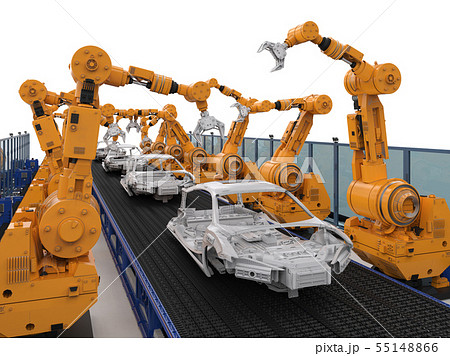 robot assembly line in car factory 55148866
