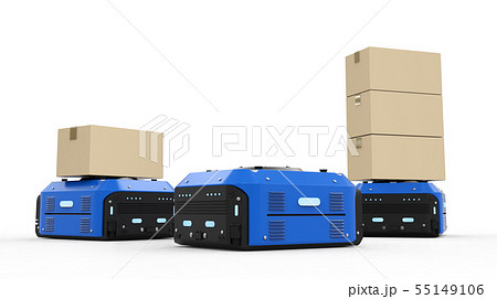 warehouse robot carry boxes 55149106