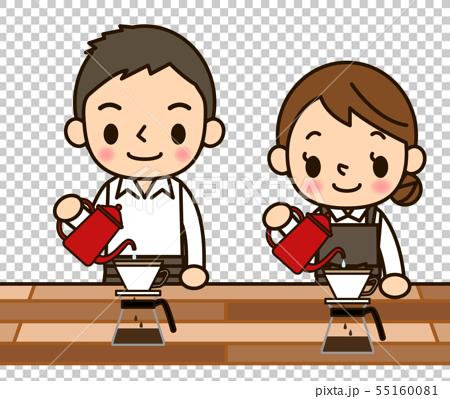 咖啡師男人和女人滴咖啡 55160081