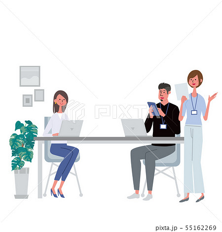 パソコンで仕事をする男女 イラスト チーム 三人 55162269
