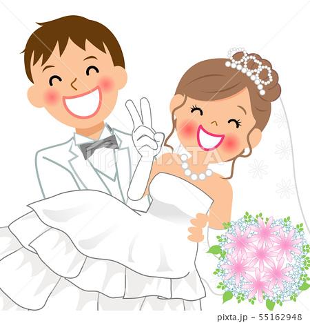 結婚式でお姫様抱っこをする新郎新婦 上半身のイラスト素材