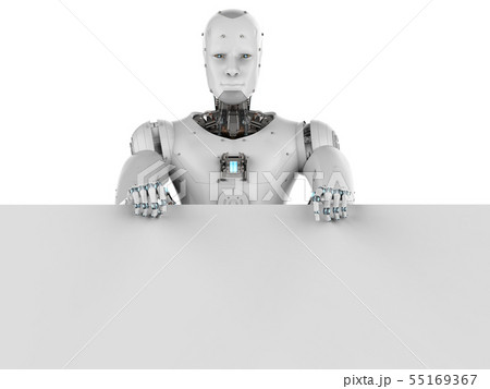 robot with white blank paper 55169367