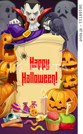 Halloween party, Dracula and pumpkins, sweets 55189590