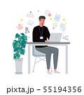 机に向かってパソコンをする男性 イラスト アイコン 55194356