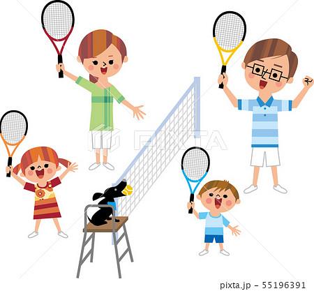 家族でテニス 55196391