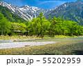 《長野県》新緑の上高地・岳沢と梓川 55202959