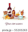 Mulled wine winter and Christmas hot drink vector illustration. Mulledwine cocktail with spices 55203263