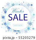 Winter sale vector illustration poster design with blue snowflakes elements and winter sale text in 55203279