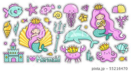 Set of kawaii sea cartoon stickers.  55216470