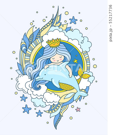 Mermaid with dolphin, surrounded blue seaweed. 55217736